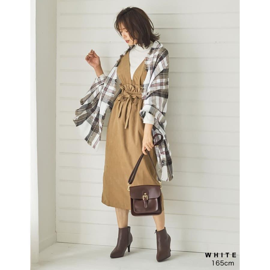巻いて良し、羽織って良しのマルチなアイテム チェック柄フリンジビッグマフラー ファッション雑貨/マフラー/ショール 8