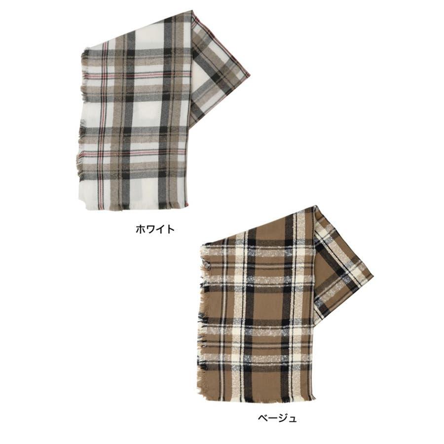 巻いて良し、羽織って良しのマルチなアイテム チェック柄フリンジビッグマフラー ファッション雑貨/マフラー/ショール 2