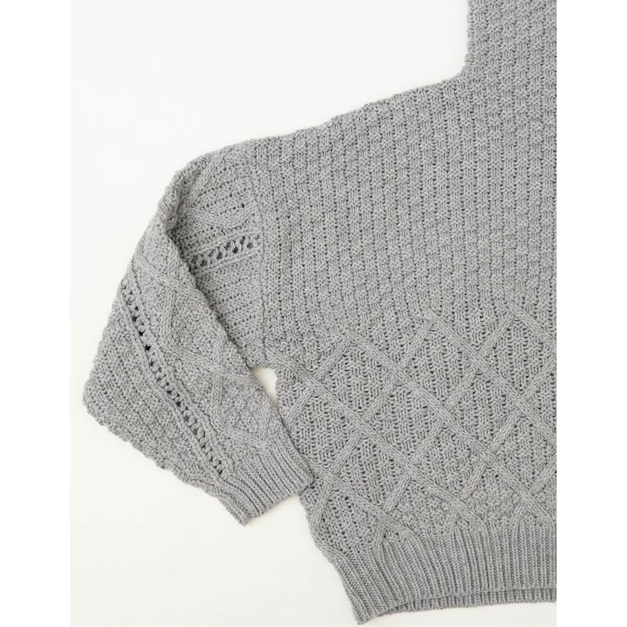 編み地の切り替えが魅力のデザインニット 編み地切替えハイネックニットプルオーバー 9