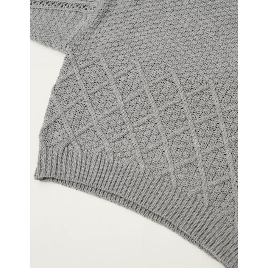 編み地の切り替えが魅力のデザインニット 編み地切替えハイネックニットプルオーバー 10