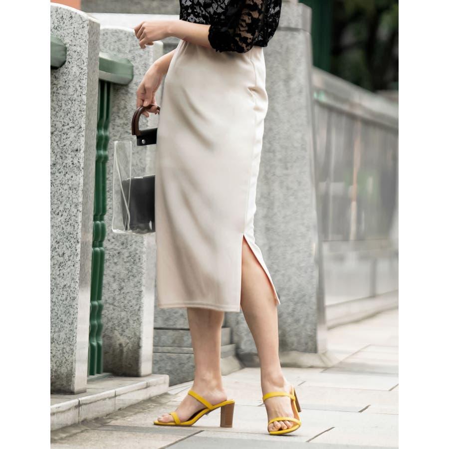 魅力的なタイトシルエットでノーブルな仕上がりに ミディ丈リブタイトスカート 16