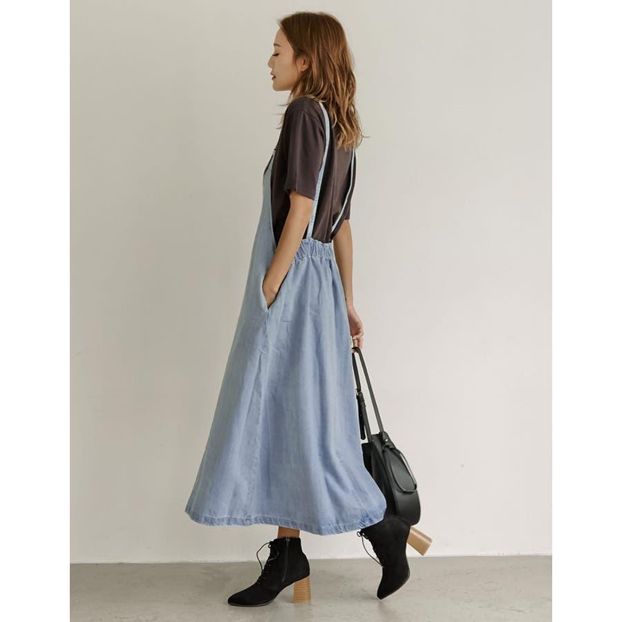 華奢なキャミワンピ風デザインでフェミニンに着たいデニムジャンスカ 9