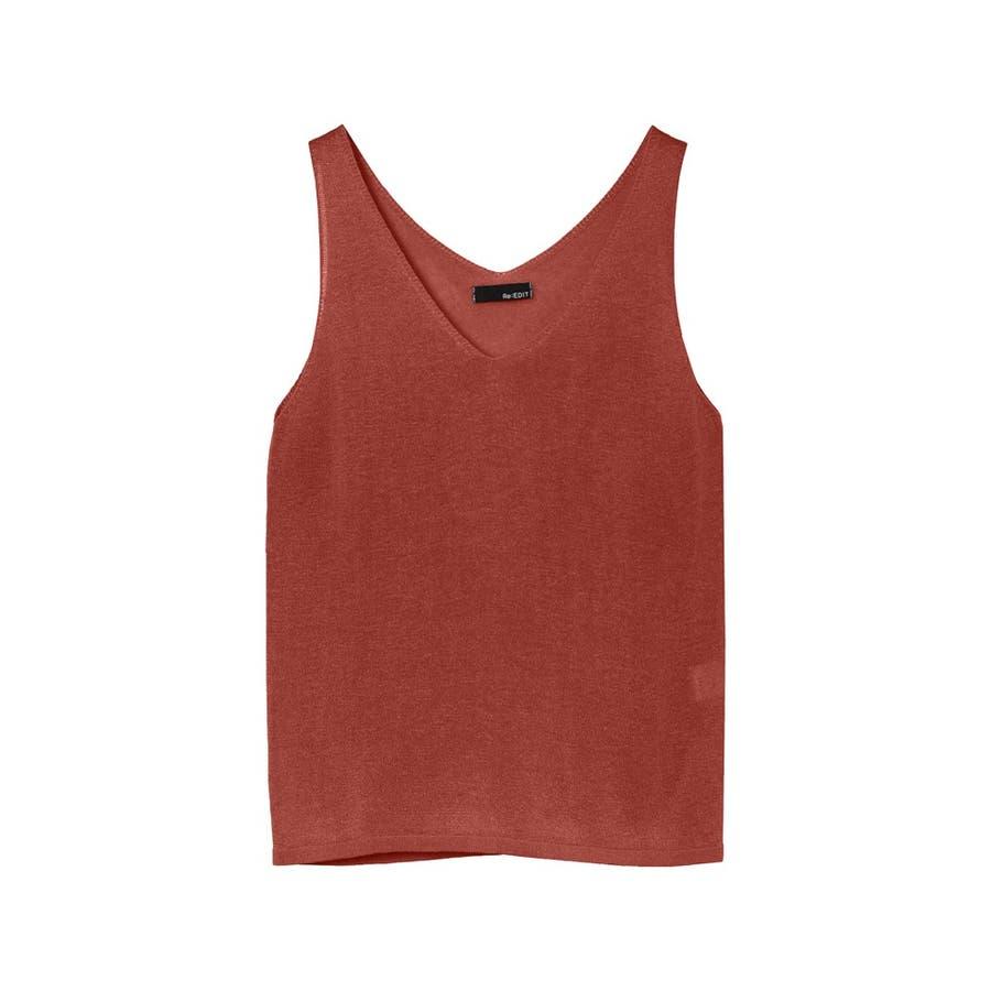 品良く着こなす、ナチュラルなリネン混紡ニット リネン混紡ニットタンクトップ トップス/ニットトップス 108
