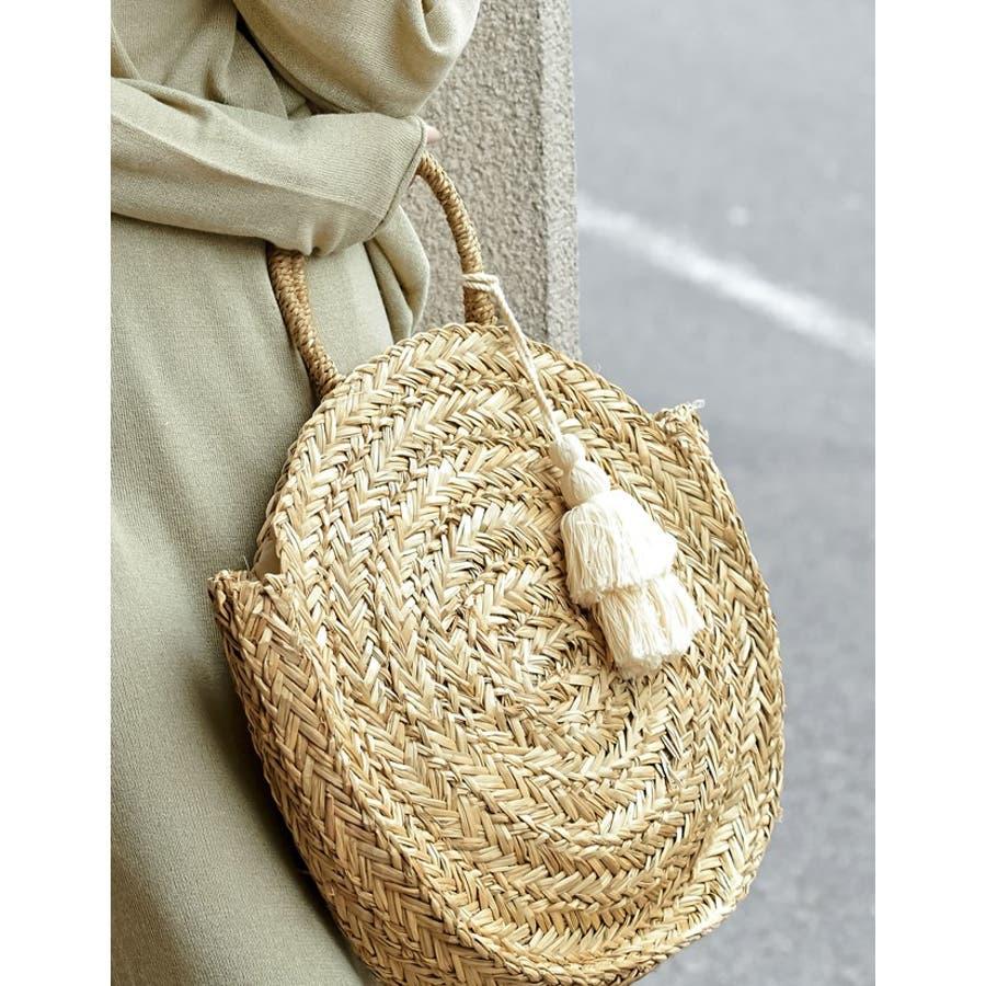夏に取り入れたい大人可愛いサークルかごバッグ 丸型ハンドバッグ バッグ 4