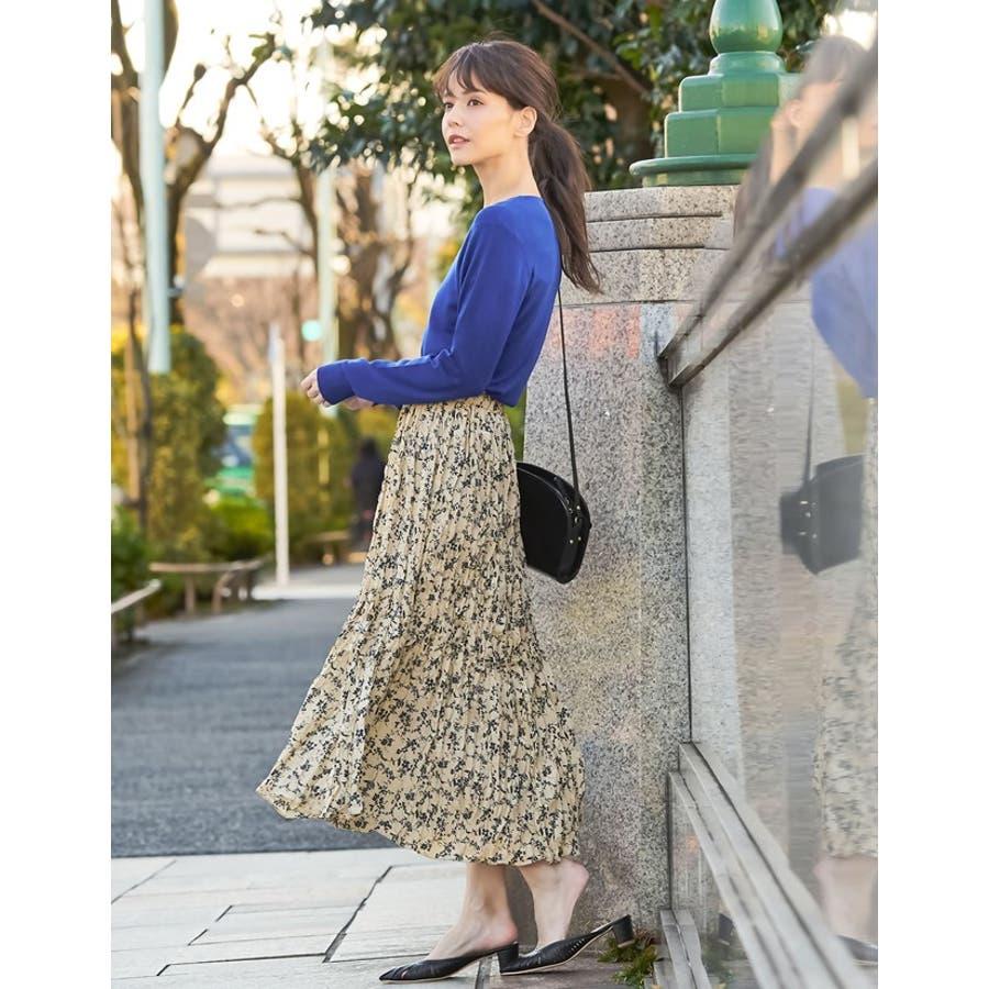 ナチュラルで飾らない大人の魅力を ヴィンテージライクシワ加工花柄プリーツスカート 4
