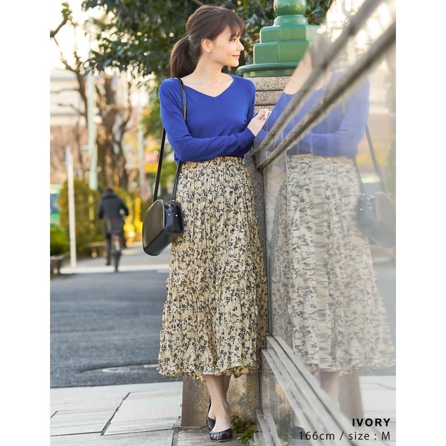 ナチュラルで飾らない大人の魅力を ヴィンテージライクシワ加工花柄プリーツスカート 5
