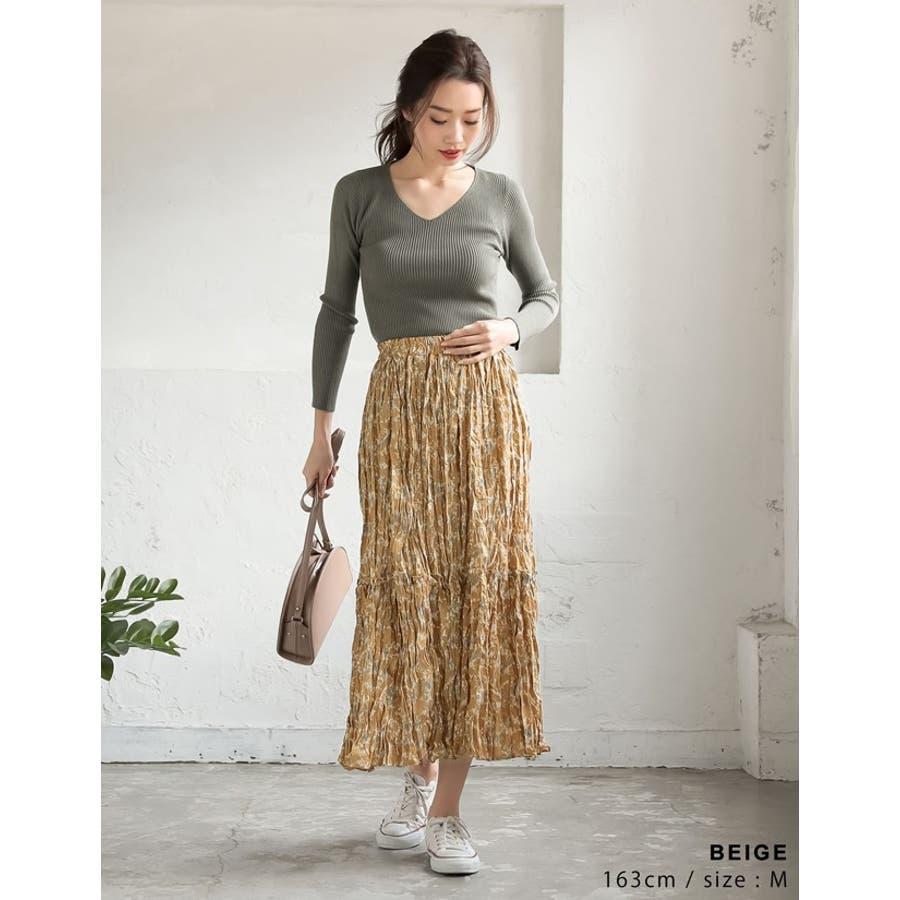 ナチュラルで飾らない大人の魅力を ヴィンテージライクシワ加工花柄プリーツスカート 7