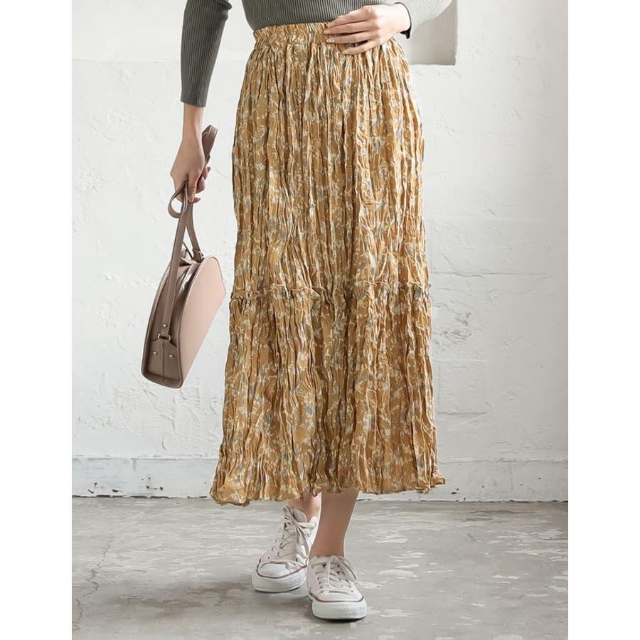 ナチュラルで飾らない大人の魅力を ヴィンテージライクシワ加工花柄プリーツスカート 8