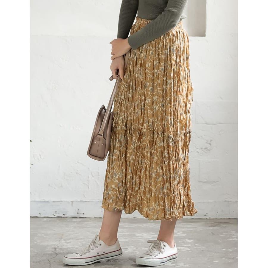 ナチュラルで飾らない大人の魅力を ヴィンテージライクシワ加工花柄プリーツスカート 9