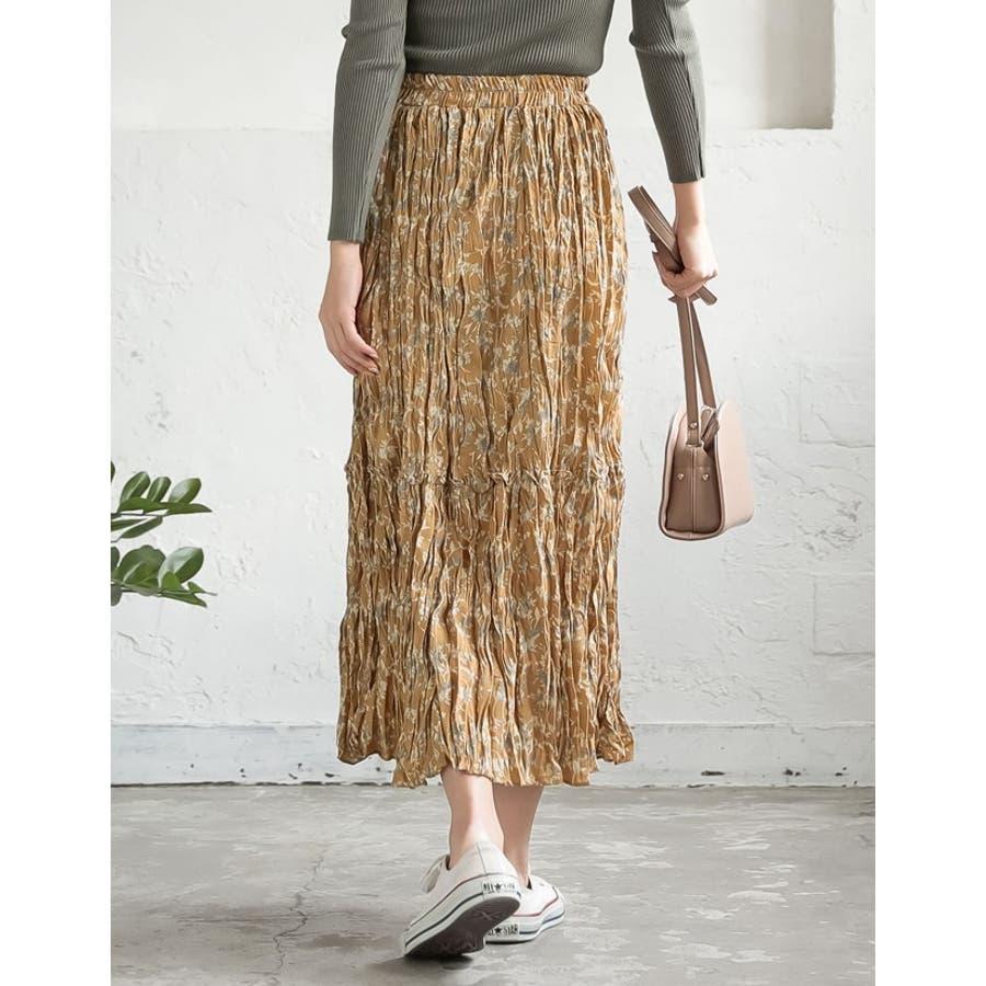 ナチュラルで飾らない大人の魅力を ヴィンテージライクシワ加工花柄プリーツスカート 10