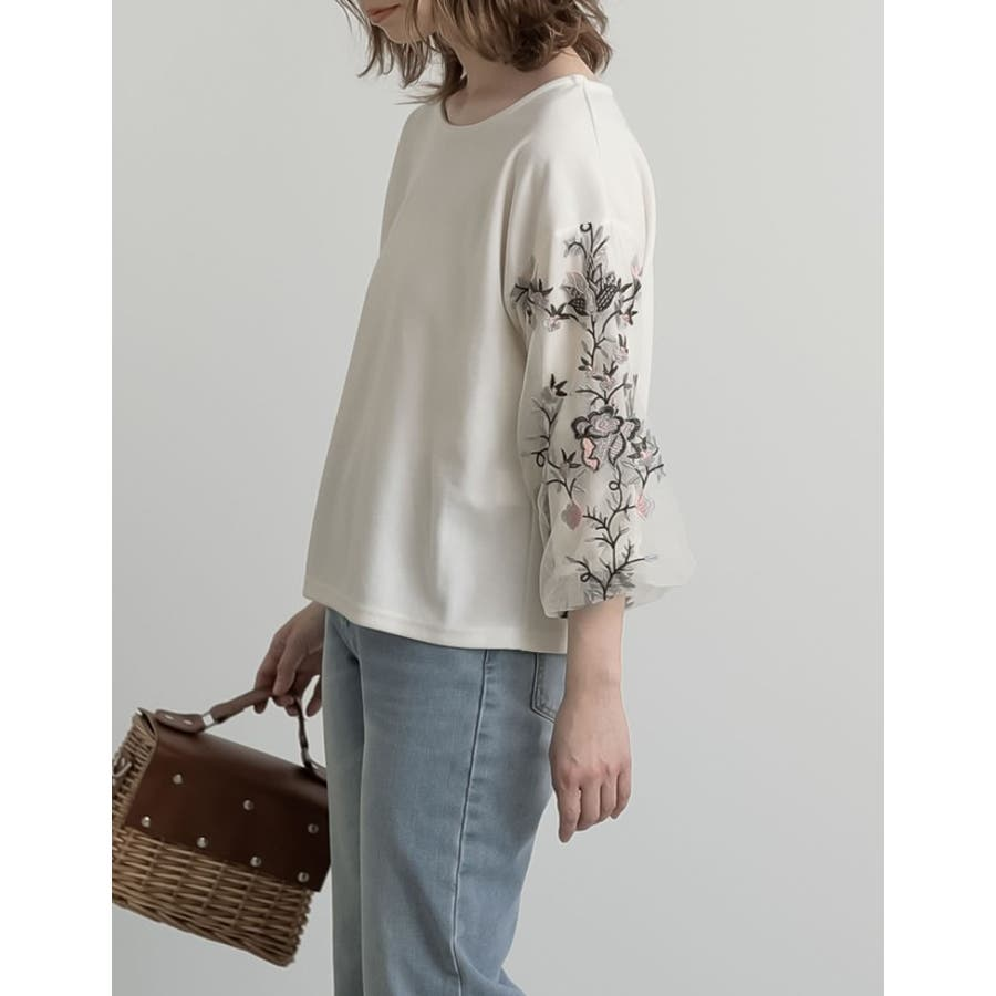 レディな刺繍スリーブトップス フラワー刺繍チュールスリーブミラノリブトップス 6