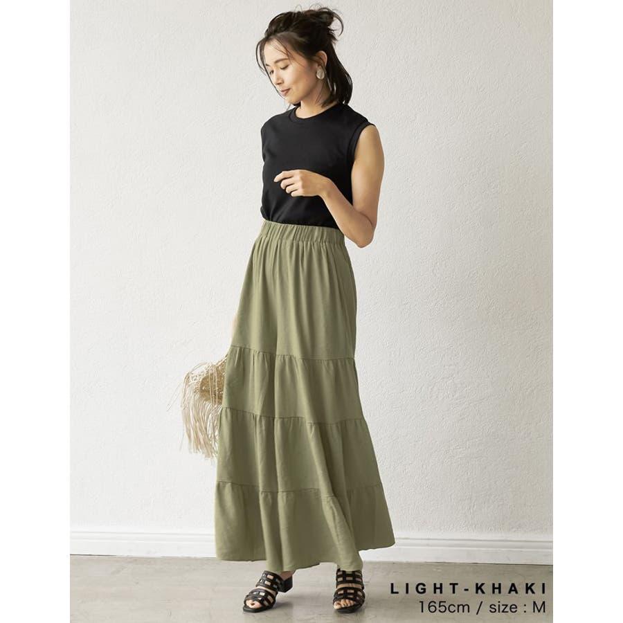 スカート見えするボリューム感が魅力 ティアードフレアワイドパンツ ボトムス 4
