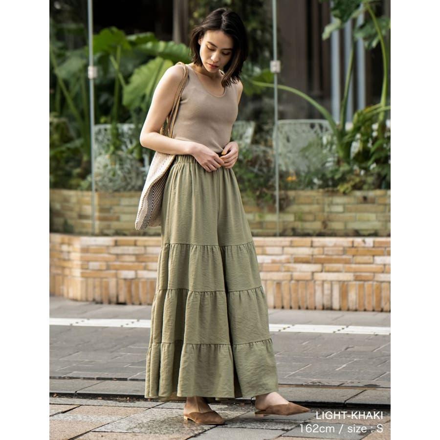 スカート見えするボリューム感が魅力 ティアードフレアワイドパンツ ボトムス 5