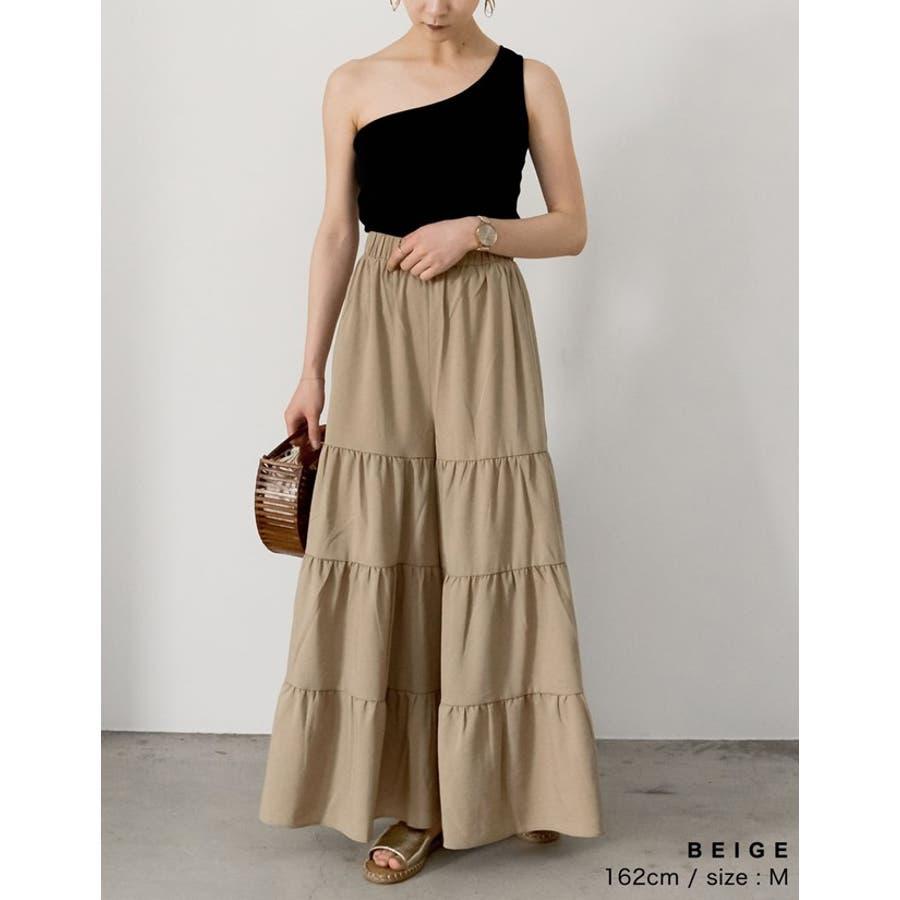 スカート見えするボリューム感が魅力 ティアードフレアワイドパンツ ボトムス 7