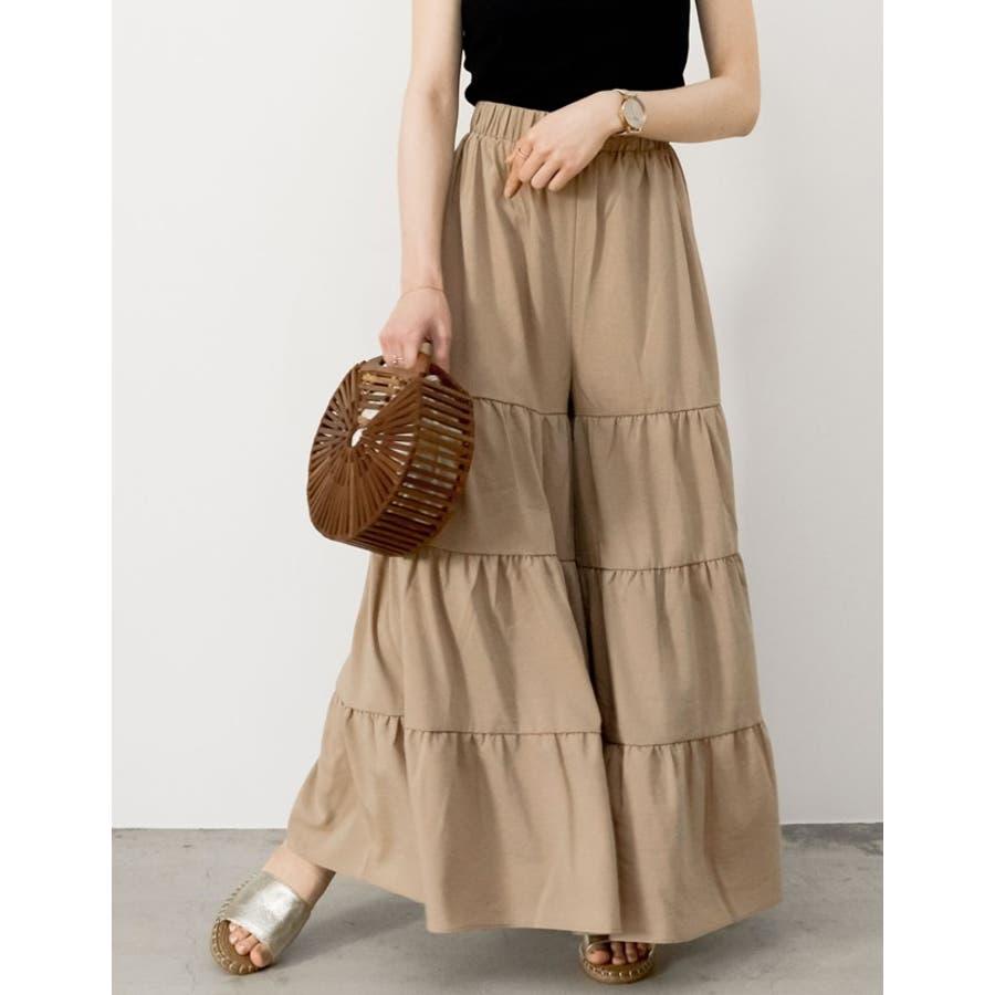 スカート見えするボリューム感が魅力 ティアードフレアワイドパンツ ボトムス 8