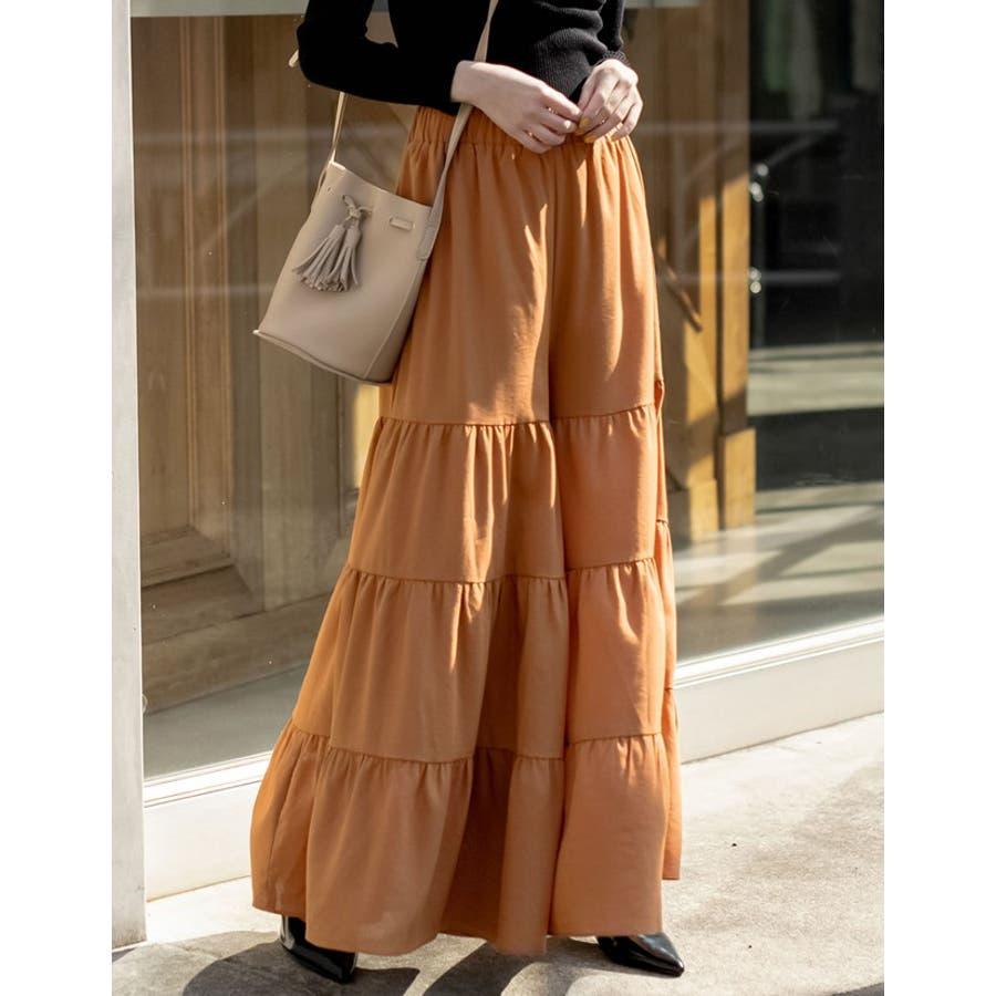 スカート見えするボリューム感が魅力 ティアードフレアワイドパンツ ボトムス 10