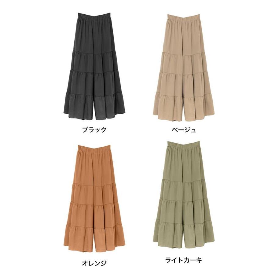 スカート見えするボリューム感が魅力 ティアードフレアワイドパンツ ボトムス 2