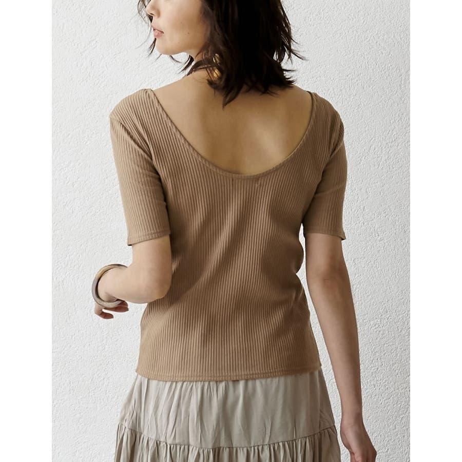 Tシャツ感覚で扱える、品のあるリブカットソー バックオープン五分袖コットンリブカットソートップス トップス/カットソー・Tシャツ 10