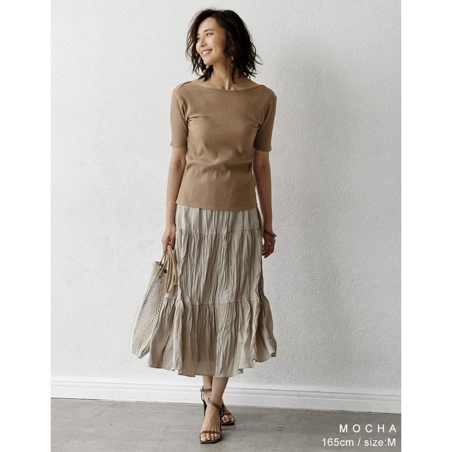 Tシャツ感覚で扱える、品のあるリブカットソー バックオープン五分袖コットンリブカットソートップス トップス/カットソー・Tシャツ 8