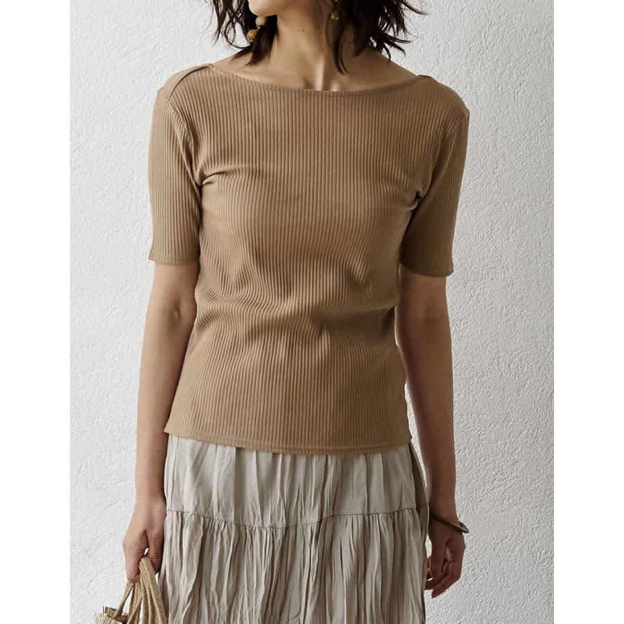 Tシャツ感覚で扱える、品のあるリブカットソー バックオープン五分袖コットンリブカットソートップス トップス/カットソー・Tシャツ 9