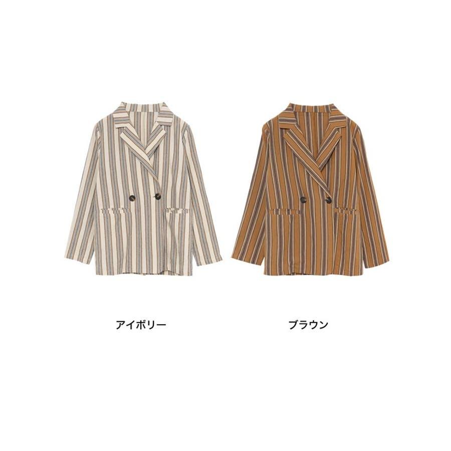 軽い着心地で旬のスタイルを演出するジャケット コットンストライプダブルテーラードジャケット アウター/ジャケット 2