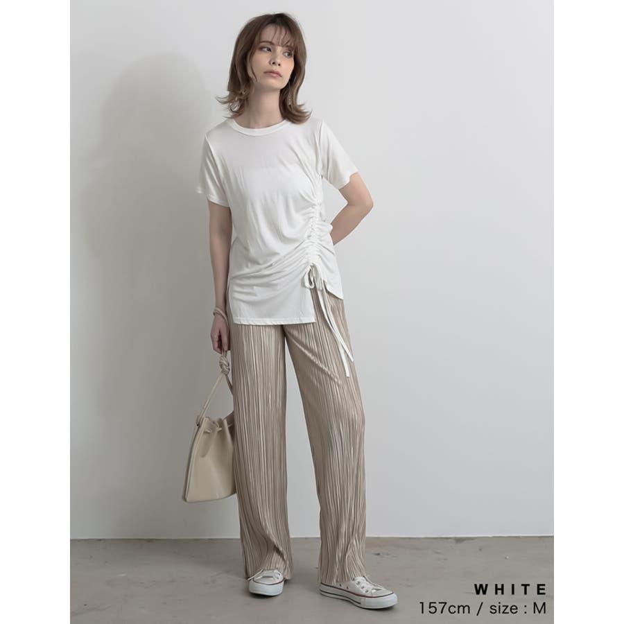 ワンランク上の大人のデザインTシャツ サイドドロストとろみTシャツ トップス 4