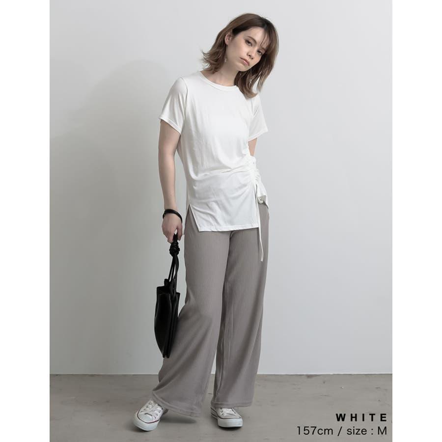 ワンランク上の大人のデザインTシャツ サイドドロストとろみTシャツ トップス 5