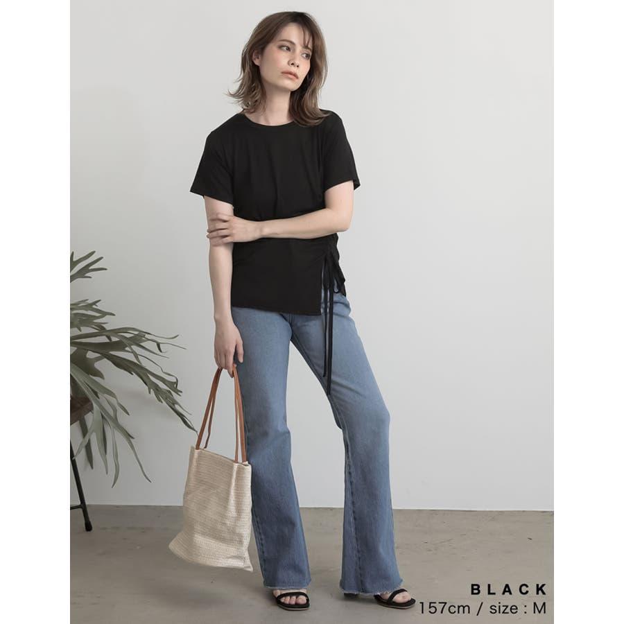 ワンランク上の大人のデザインTシャツ サイドドロストとろみTシャツ トップス 6
