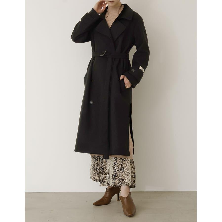 クラシカルで洗練されたトレンチ風デザインコート [低身長向け/高身長向けサイズ対応]ジャージーメルトントレンチデザインコートジャケット/アウター/トレンチコート 21