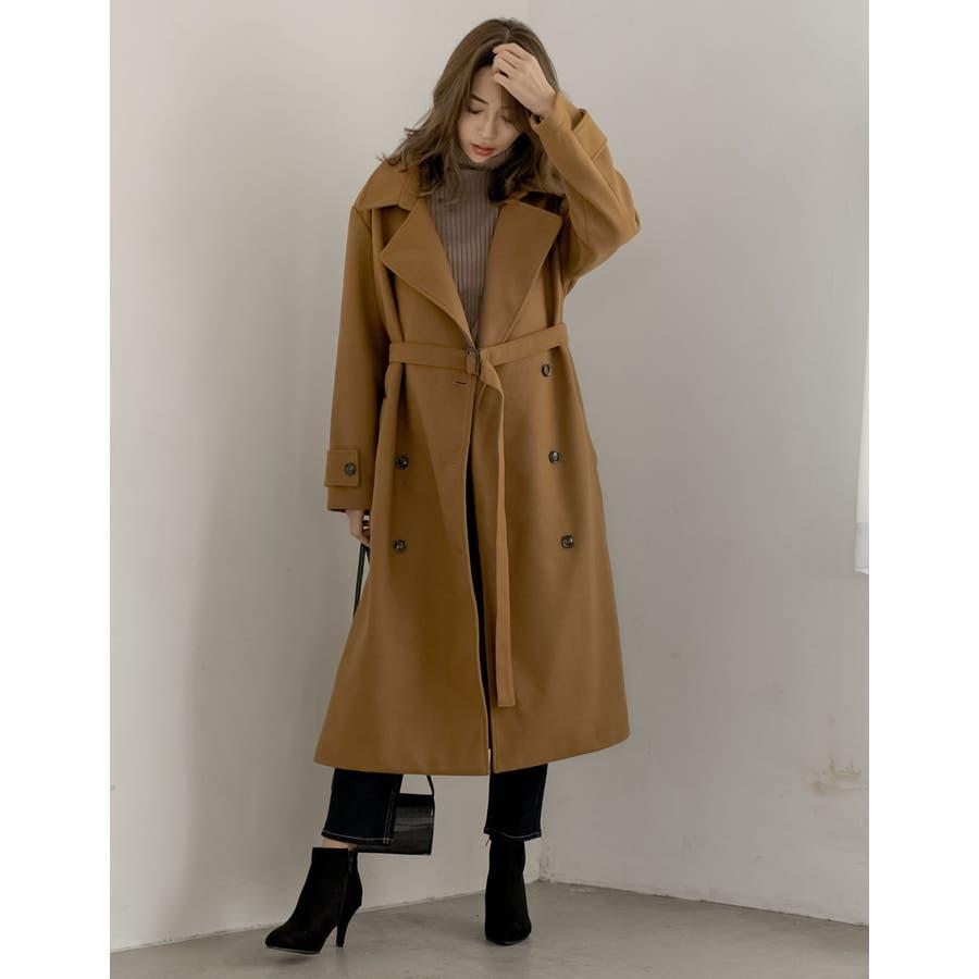 こなれた女性らしさを演出するトレンチ風デザイン ジャージーメルトントレンチデザインコート ジャケット/アウター/トレンチコート 33