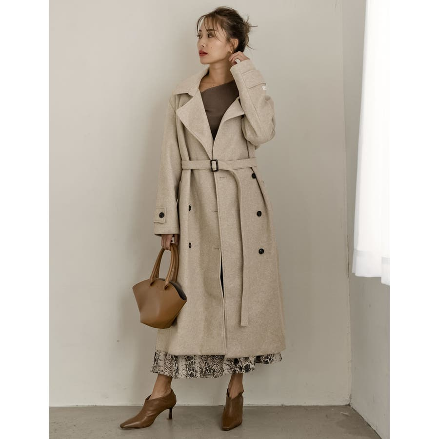 こなれた女性らしさを演出するトレンチ風デザイン ジャージーメルトントレンチデザインコート ジャケット/アウター/トレンチコート 46