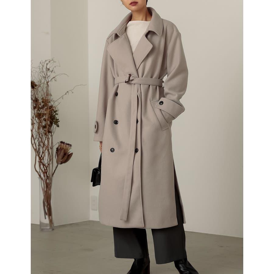 クラシカルで洗練されたトレンチ風デザインコート [低身長向け/高身長向けサイズ対応]ジャージーメルトントレンチデザインコートジャケット/アウター/トレンチコート 28