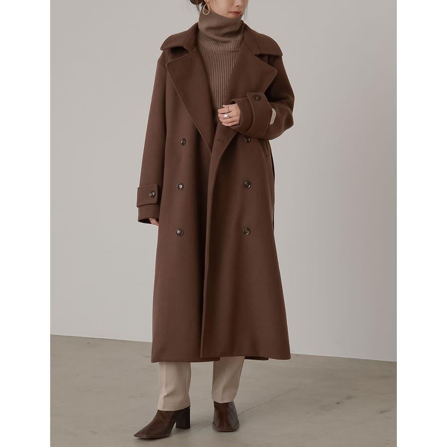 クラシカルで洗練されたトレンチ風デザインコート [低身長向け/高身長向けサイズ対応]ジャージーメルトントレンチデザインコートジャケット/アウター/トレンチコート 29