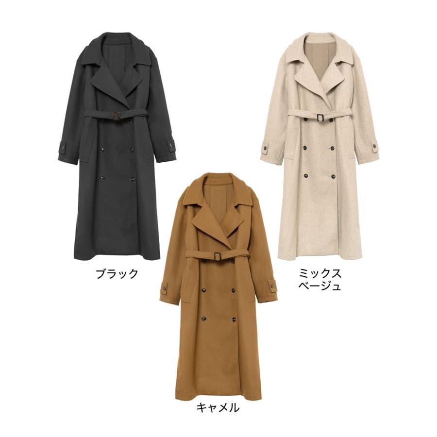 こなれた女性らしさを演出するトレンチ風デザイン ジャージーメルトントレンチデザインコート ジャケット/アウター/トレンチコート 2
