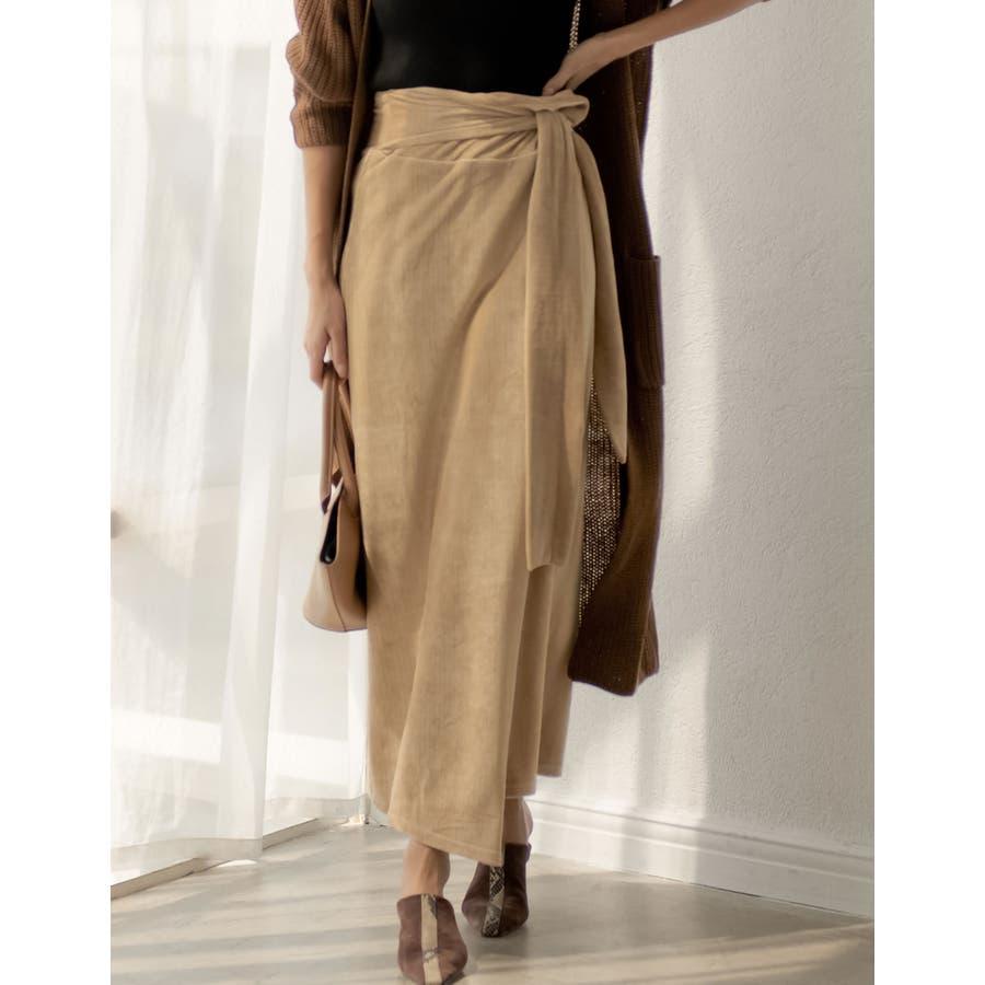 歩くたびに揺れる表情が上品で女性らしい ストレッチコーデュロイウエストリボンラップ風スカート スカート/スカート 41