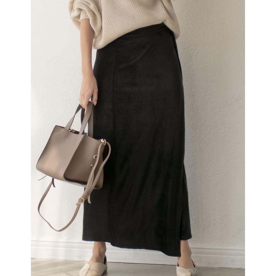 歩くたびに揺れる表情が上品で女性らしい ストレッチコーデュロイウエストリボンラップ風スカート スカート/スカート 21