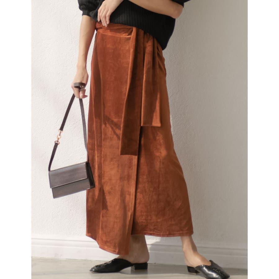 歩くたびに揺れる表情が上品で女性らしい ストレッチコーデュロイウエストリボンラップ風スカート スカート/スカート 102