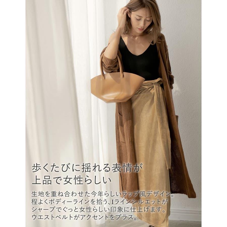 歩くたびに揺れる表情が上品で女性らしい ストレッチコーデュロイウエストリボンラップ風スカート スカート/スカート 4
