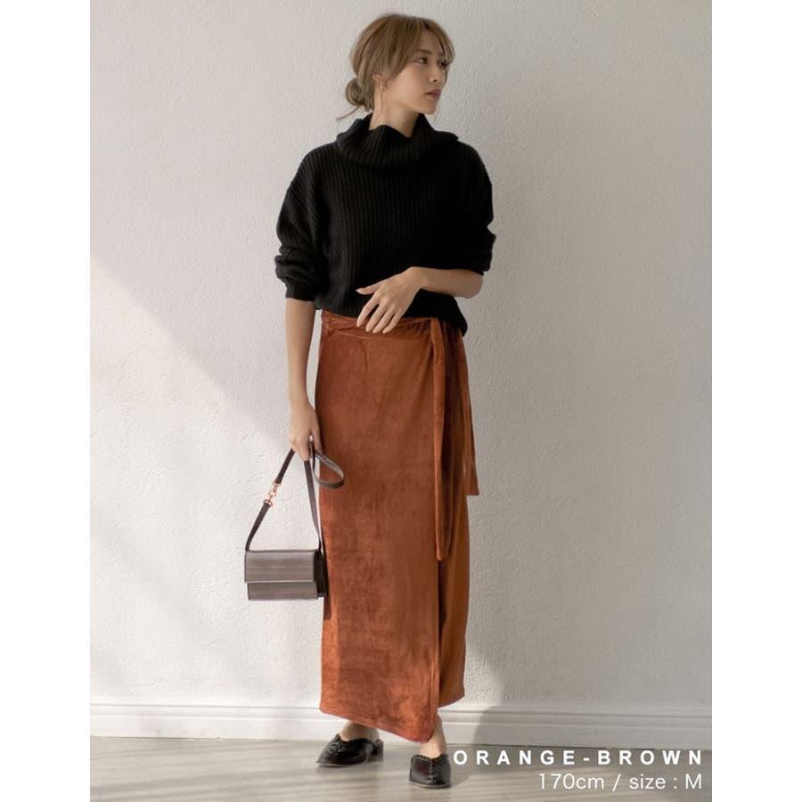 歩くたびに揺れる表情が上品で女性らしい ストレッチコーデュロイウエストリボンラップ風スカート スカート/スカート 6