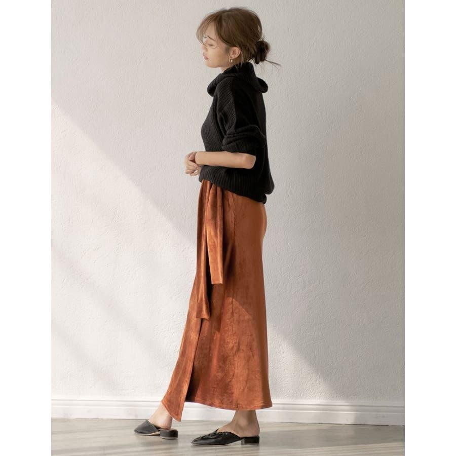 歩くたびに揺れる表情が上品で女性らしい ストレッチコーデュロイウエストリボンラップ風スカート スカート/スカート 7