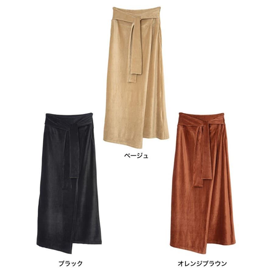歩くたびに揺れる表情が上品で女性らしい ストレッチコーデュロイウエストリボンラップ風スカート スカート/スカート 2