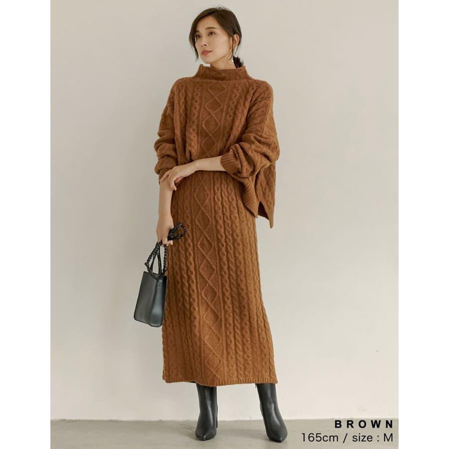 表情豊かなケーブルデザインでコーデの主役に ケーブルニットロングスカート スカート/スカート 8