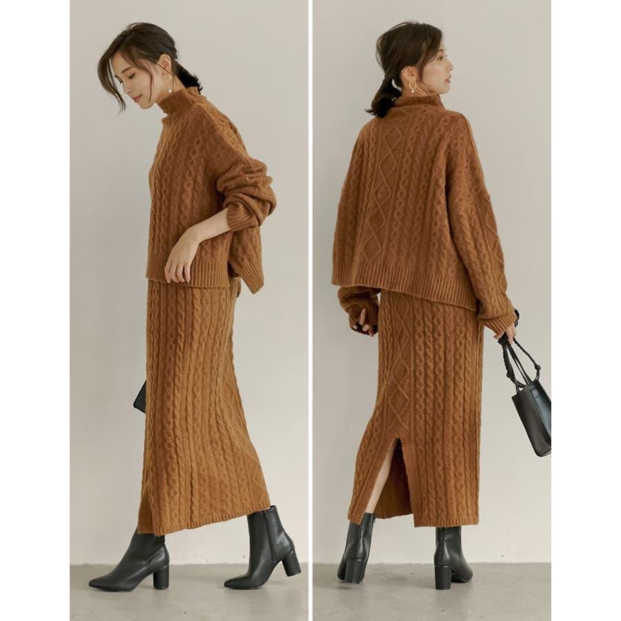 表情豊かなケーブルデザインでコーデの主役に ケーブルニットロングスカート スカート/スカート 9