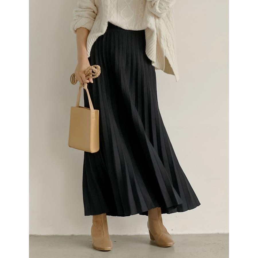もっちりニットが優しくて柔らかな印象を [星玲奈さん着用][低身長向けSサイズ対応]ソフトニットプリーツロングスカートスカート/スカート 21