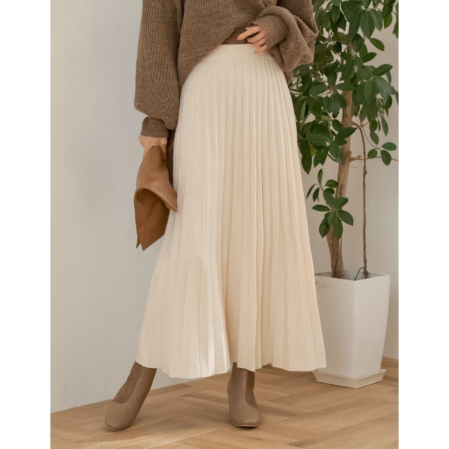 もっちりニットが優しくて柔らかな印象を [星玲奈さん着用][低身長向けSサイズ対応]ソフトニットプリーツロングスカートスカート/スカート 18