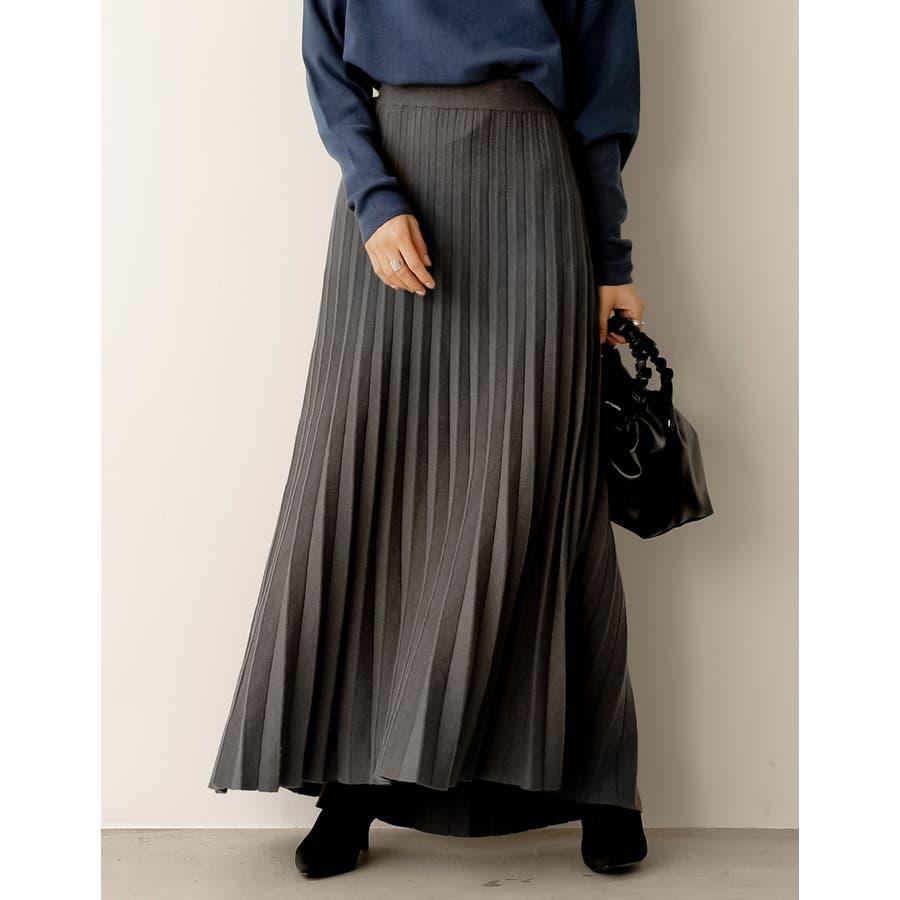 もっちりニットが優しくて柔らかな印象を [星玲奈さん着用][低身長向けSサイズ対応]ソフトニットプリーツロングスカートスカート/スカート 26