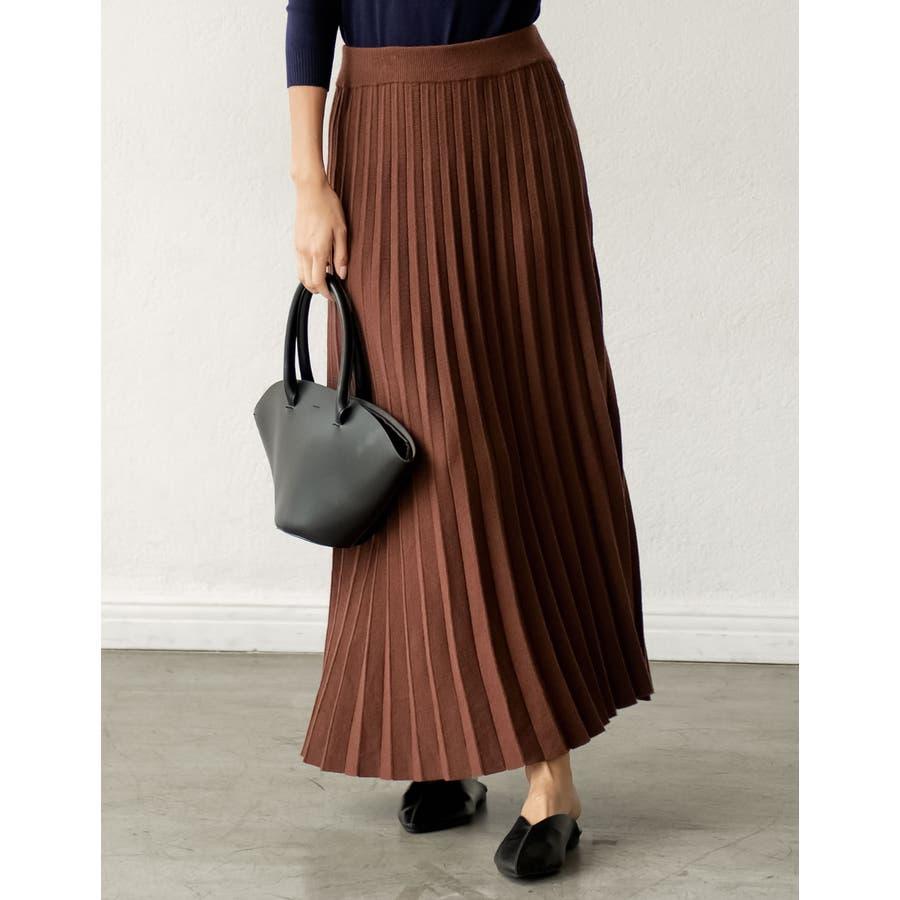 もっちりニットが優しくて柔らかな印象を [星玲奈さん着用][低身長向けSサイズ対応]ソフトニットプリーツロングスカートスカート/スカート 29