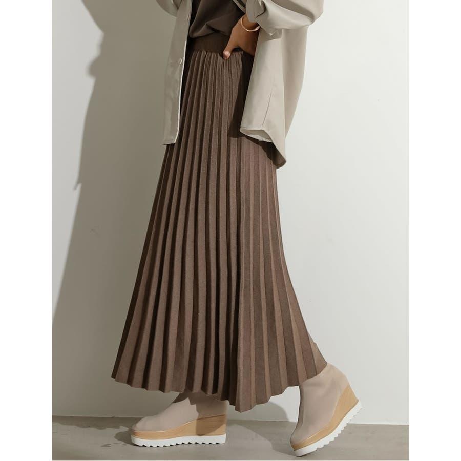 もっちりニットが優しくて柔らかな印象を [星玲奈さん着用][低身長向けSサイズ対応]ソフトニットプリーツロングスカートスカート/スカート 35