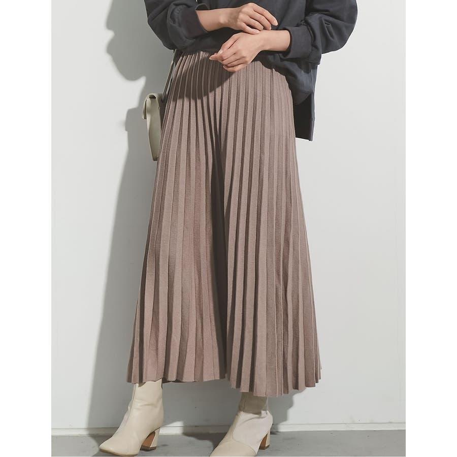もっちりニットが優しくて柔らかな印象を [星玲奈さん着用][低身長向けSサイズ対応]ソフトニットプリーツロングスカートスカート/スカート 28