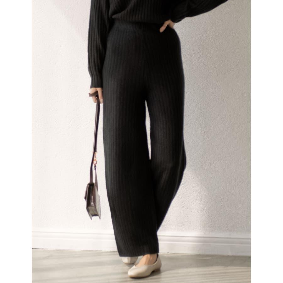 今から春先まで履きたい杢調のニットパンツが登場 リブ編みニットイージーパンツ 21